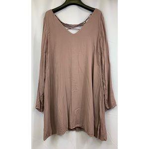 cloth & stone Criss Cross Lace Back Mini Dress S